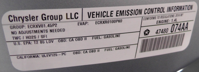 "The last in the series of ""Chrysler Group LLC"" labels used by the company, this one is from a 2014 Fiat 500."