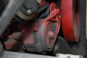 Follow the trail; it will lead you to the culprit. In this case, it's the belt tensioner that's causing the problem.